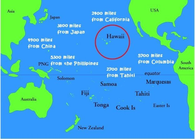 Hawaii relative to Sydney and mainland USA (from http://www.michellehenry.fr/pollution.htm)